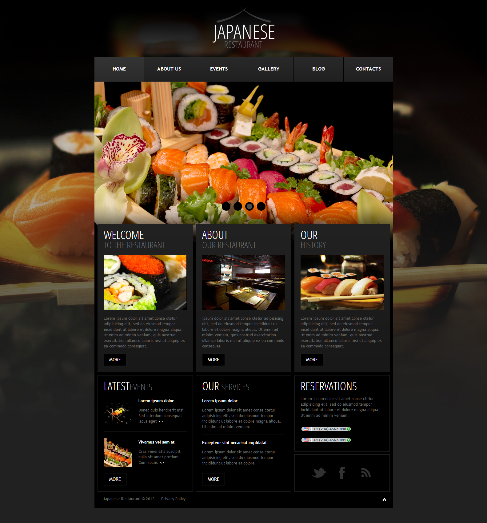 Japanese restaurant menu design for Cuisine site