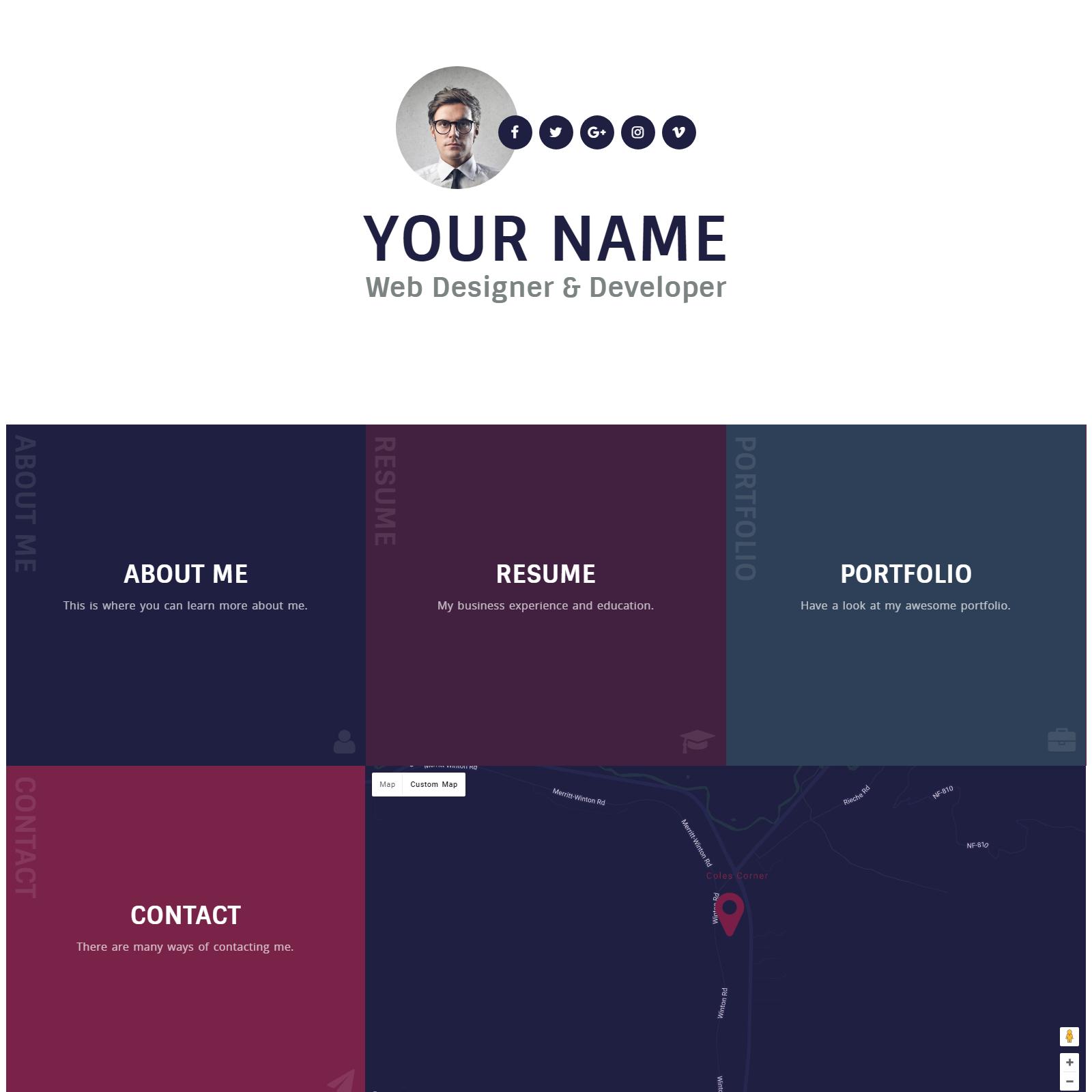 Personal Vcard Resume Portfolio WordPress Theme